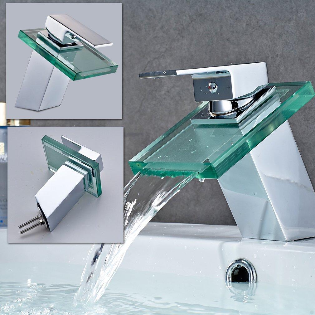 ROVATE Bathroom Waterfall Glass Sink Faucet Single Hole Single ...