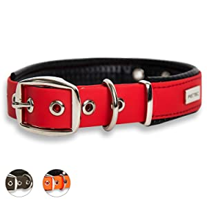 PetTec Comfortable Dog Collar, Permanent & Robust; Made with Strong, Tear Resistant Trioflex, Perfect Size for Big or Small Dogs, Great Fit with Padding Weatherproof and Waterproof - Red Collar Size S (30-40cm)