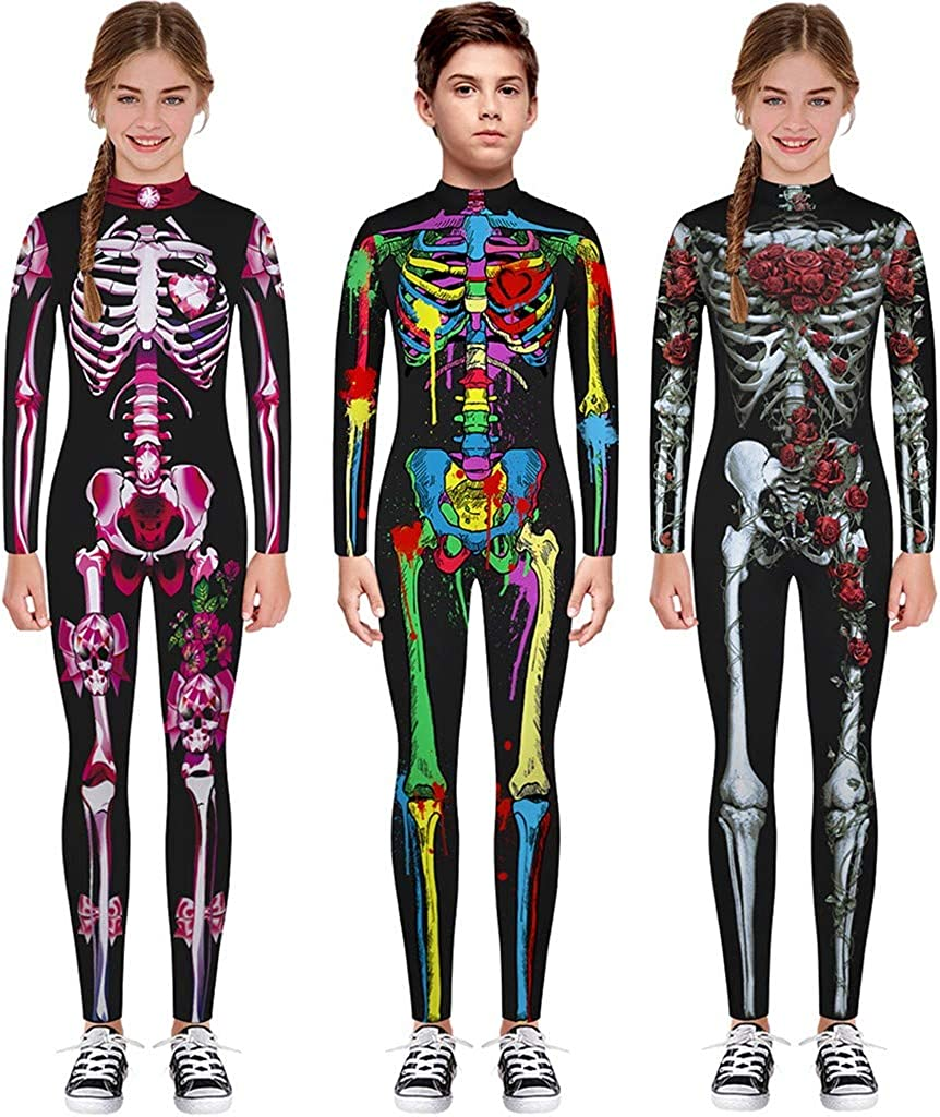 FengGa Teen Kids Girls/&Boys Halloween Cartoon Skull Print Colorful Romper Jumpsuit Clothes