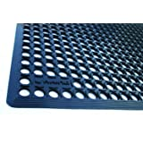 """Rhino Mats CT3660B Comfort Tract Resilient Grease-Resistant Rubber Anti-Fatigue Mat, 3' Width x 5' Length x 1/2"""" Thickness, Black"""
