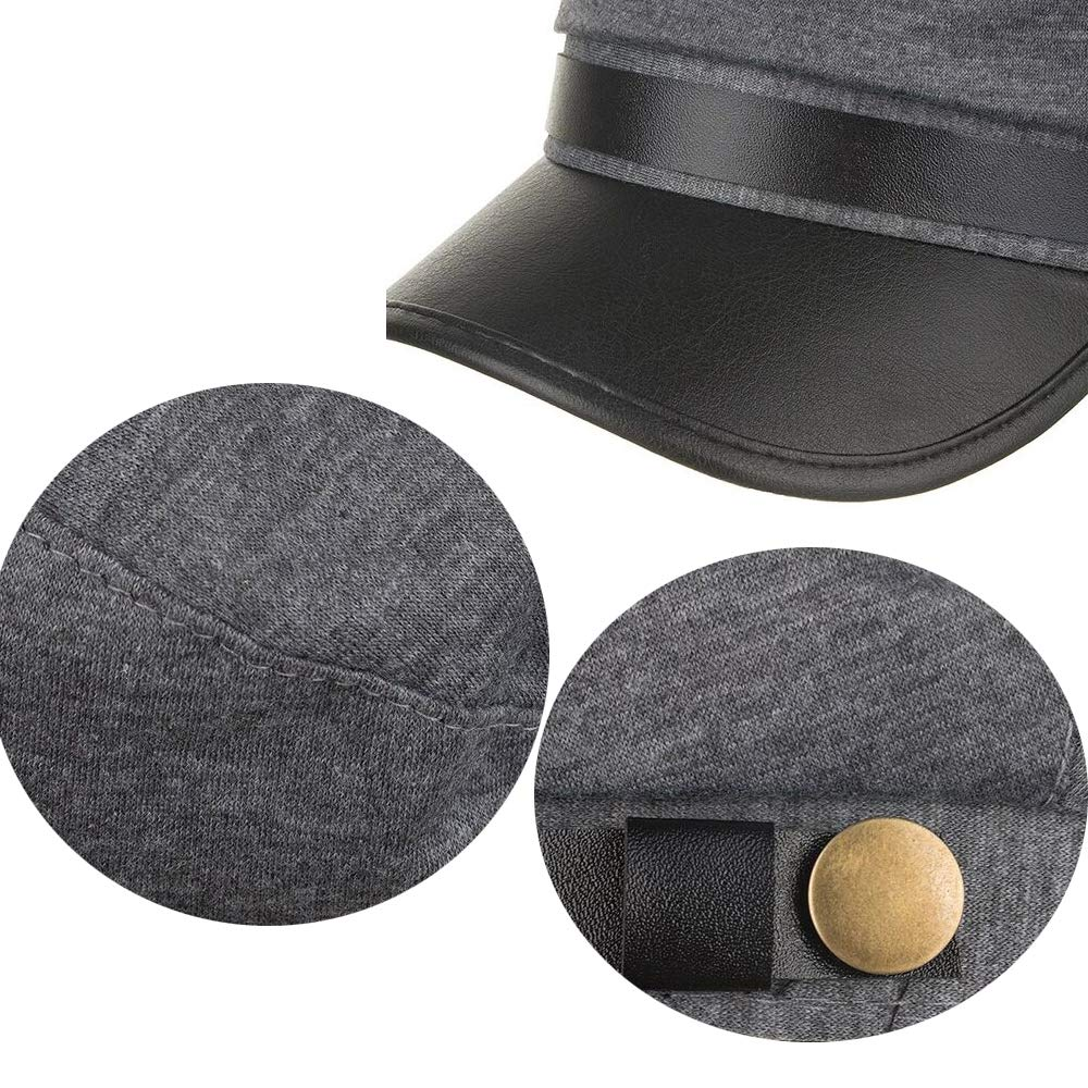 CHENNUO Military Cap Women Flat Cap Hat Mariner Barge Fiddler Cap Winter PU Leather Visors