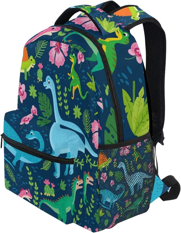 Pfrewn Summer Dinosaur Palm Leaves Backpack Bookbags Daypack Bags Water Resistant Tropical Animal Bag Mini Backpack Purse Travel Sports for Men Women