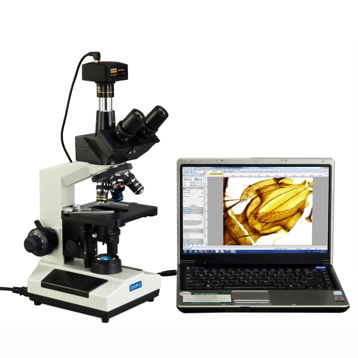 OMAX 40X-2500X Full Size Lab Digital Trinocular Compound LED Microscope with 14MP USB Camera and 3D Mechanical Stage by OMAX