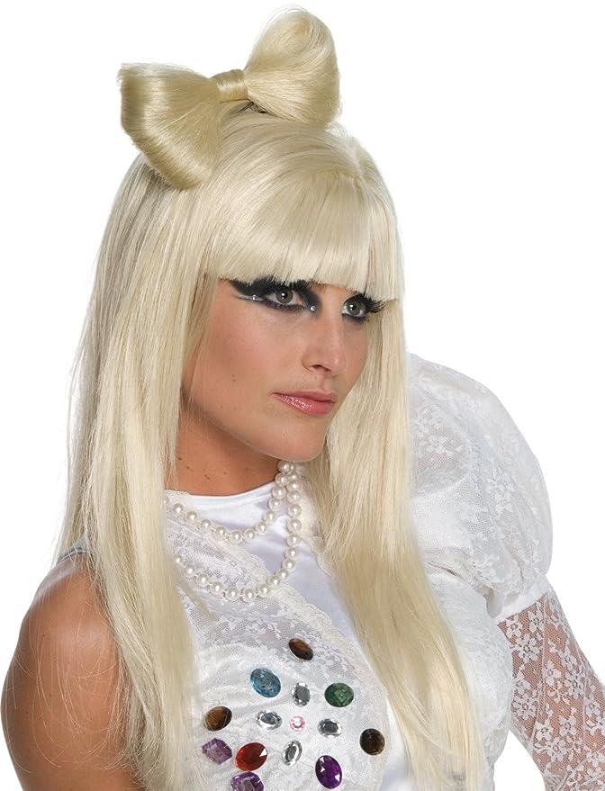 amazoncom lady gaga wig bow clipblondeone size clothing
