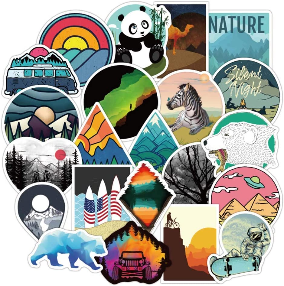 Vsco Cute Stickers for Laptops, Travel Scenery Sticker for Hydro Flask Car Bumper Bicycle Motorcycle Laptop Skateboard Snowboard Water Bottle, Nature Stickers Gift Choice, 100Pcs Outdoor Landscape