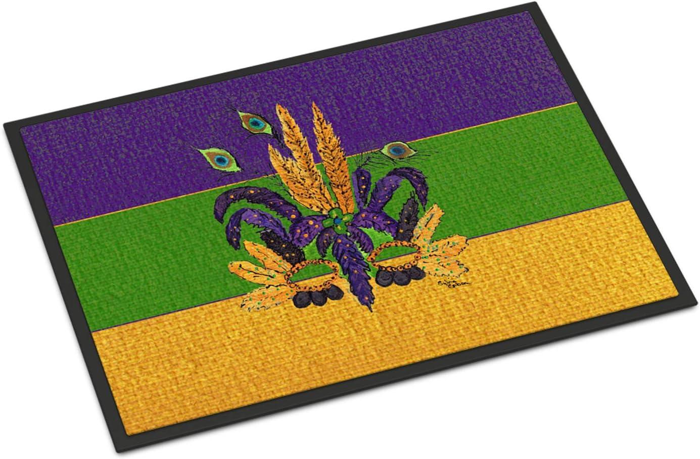 Caroline s Treasures 8387JMAT Mardi Gras Mask Indoor or Outdoor Mat 24×36 Doormat, 24H X 36W, Multicolor