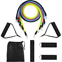 Yissvic Resistance Band Set Exercise Bands Workout Band11Pcs for Resistance Training Physical Therapy Home Workouts with Door Anchor Handles Ankle Straps Stackable up to 100lbs