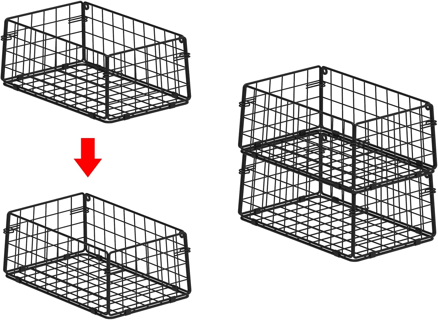 X-cosrack Stackable Pantry Baskets Organization 4 Pack-10x6x4inch, Foldable Food Storage Bins Wall Mount Snack Rack Stand, Stacking Metal Wire Basket for Countertop Cabinets kitchen