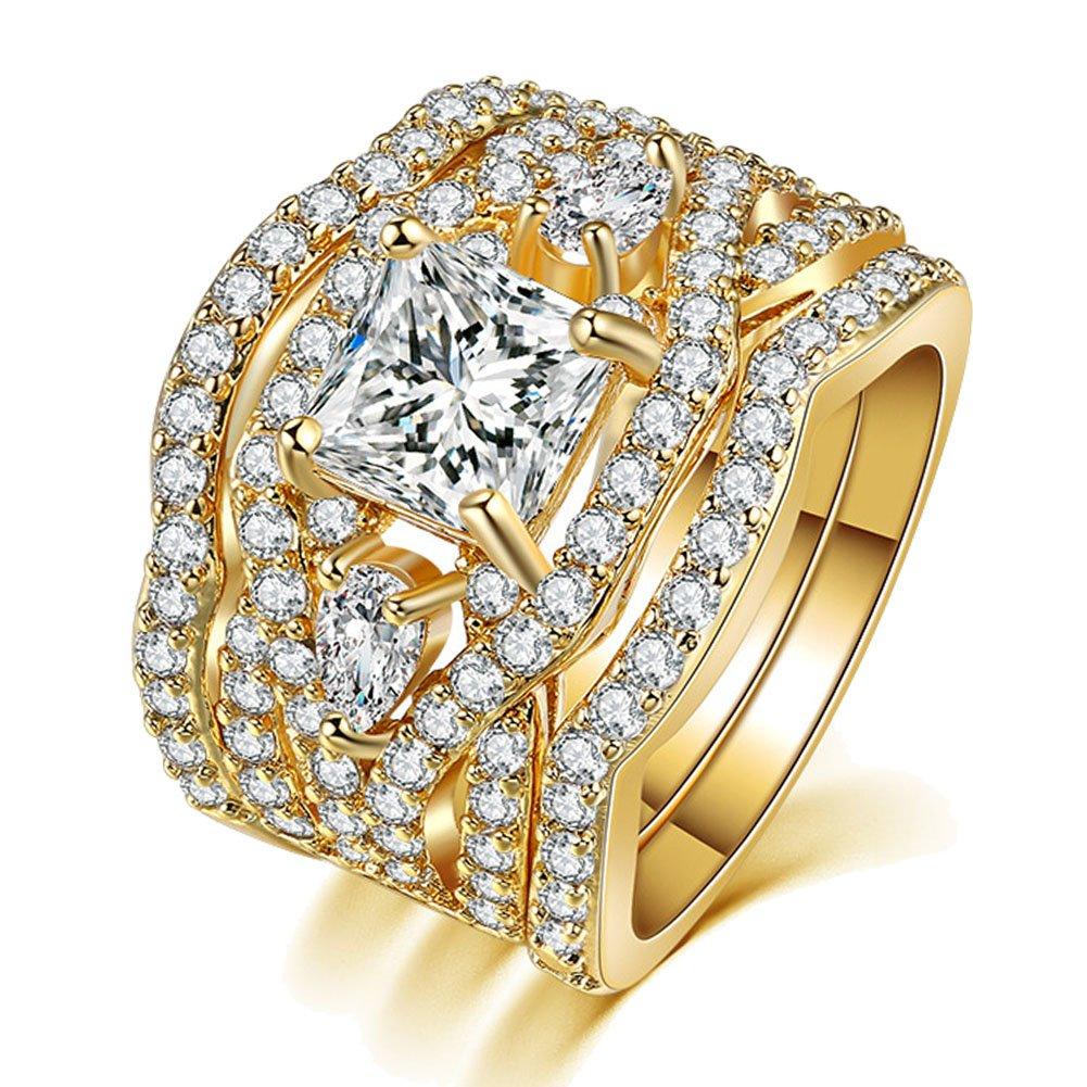 UOKOHO 3 PCS 18K Gold Princess Cut Synthetic Diamond Halo Cubic Zirconia CZ Infinity Wedding Bridal Ring Set Size 6