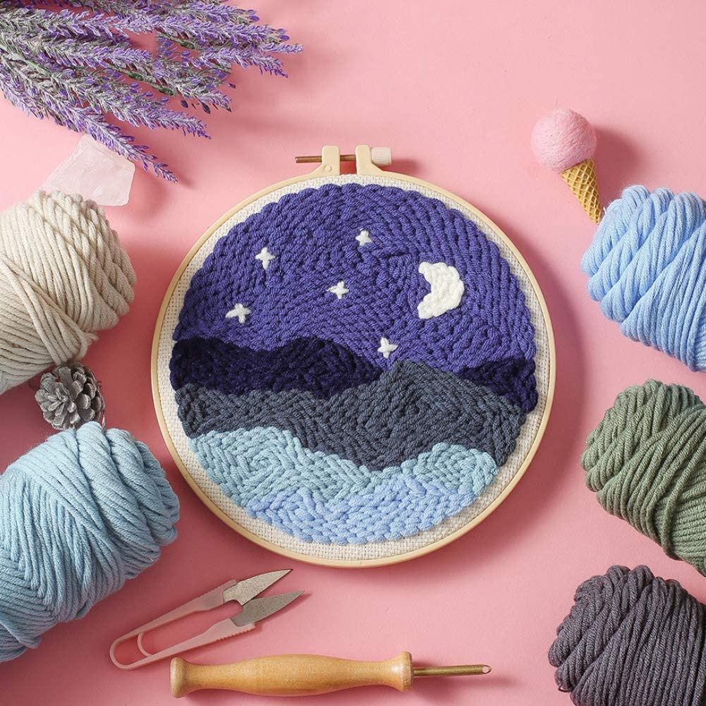 Woolen Embroidery Kit Latch Hook Kit with Tools Creative Gift for Adults Kids Beginner Escolourful DIY Rug Hooking Kit