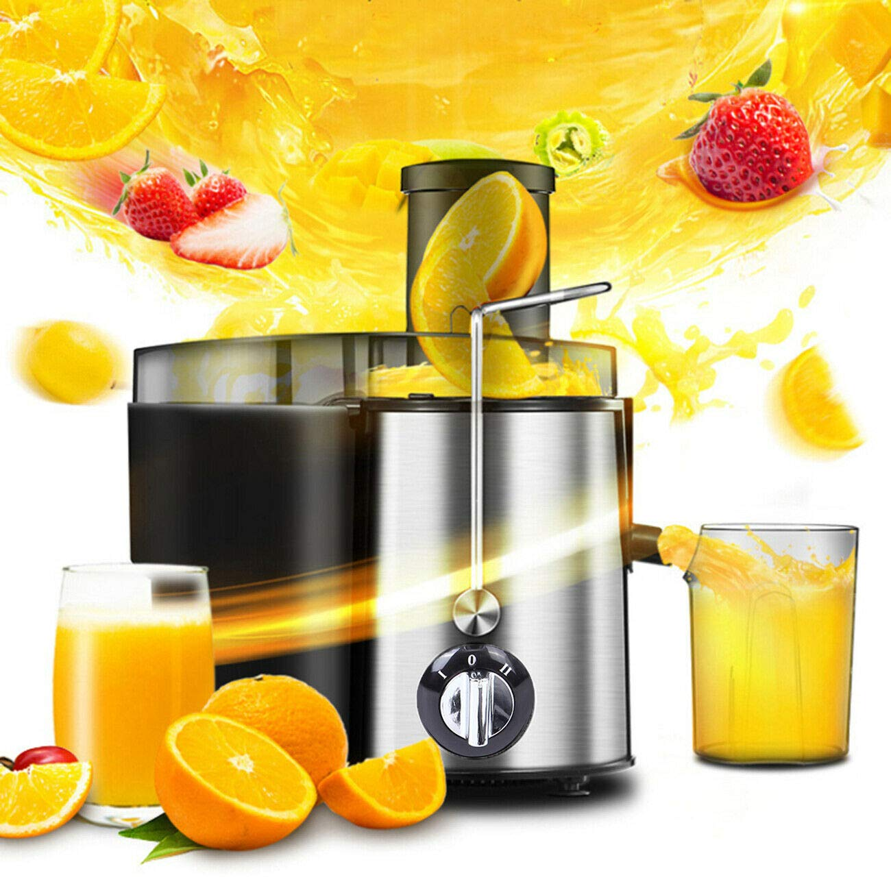 Ridgeyard Electric Juicer High Speed Juice Extractor for Fruit and Vegetables Dual Speed Setting Centrifugal Juicing Machine with Juice Jug, Premium Food Grade Stainless Steel 400W