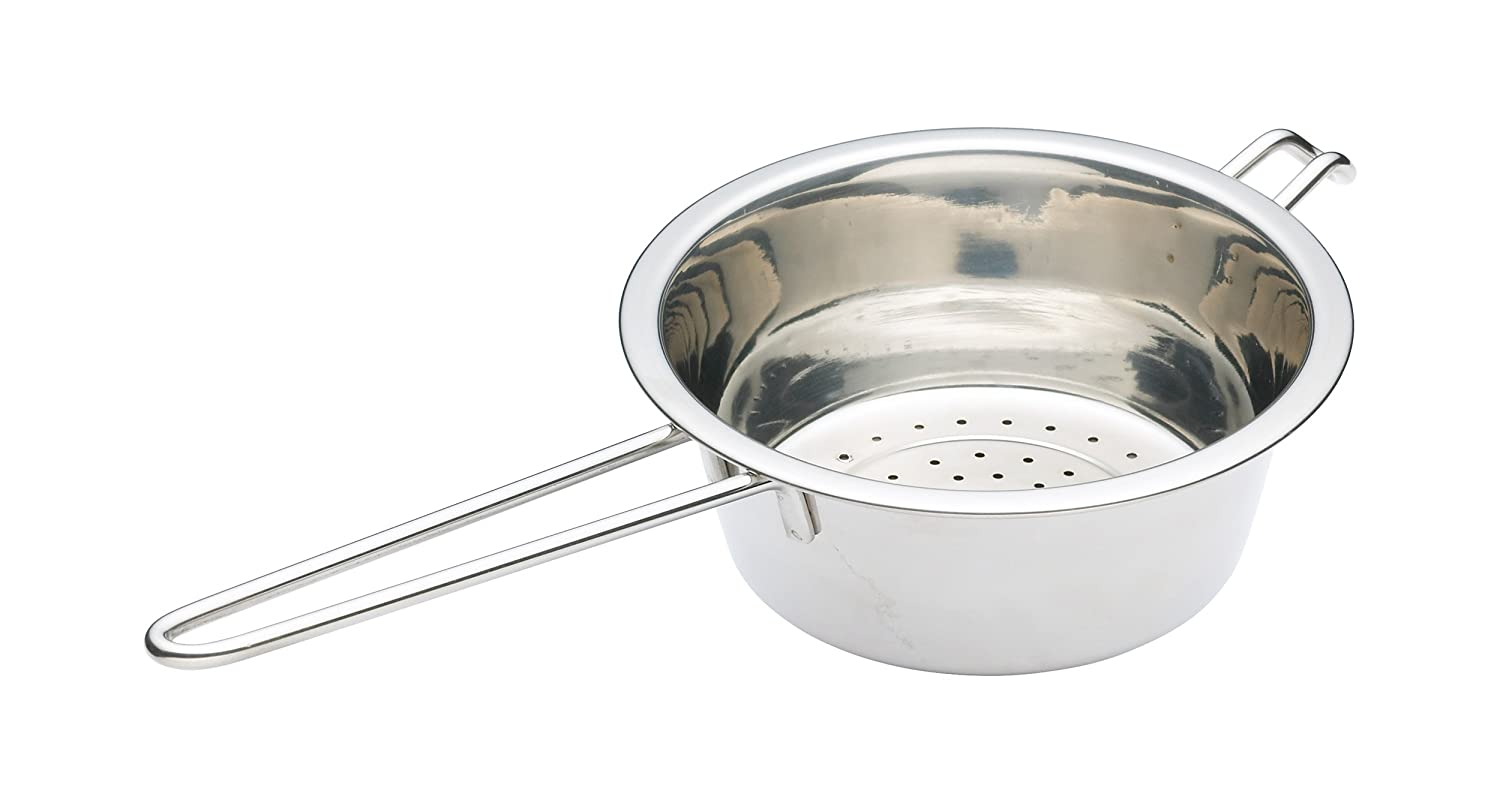 KitchenCraft Small Stainless Steel Colander with Long Metal Handle, 16 cm (6.5