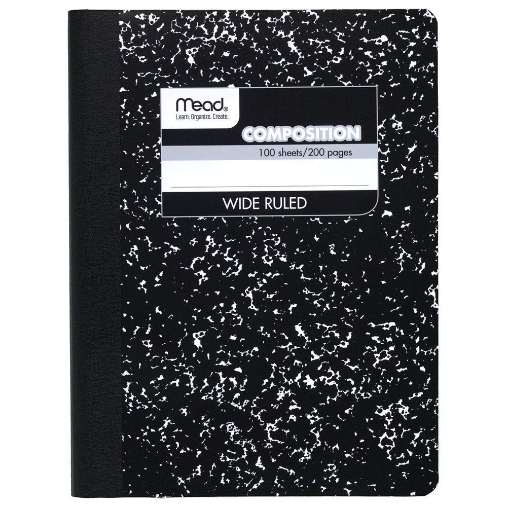 Mead Wireless Composition Book, Wide/Margin Rule, 9-3/4 x 7-1/2, White, 100 Sheets (Pack of 24)