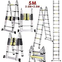 Voluker 5M Escalera Plegable,Escalera Telescópica de Aluminio,Escalera Extensible,2.5M+2.5M,Carga