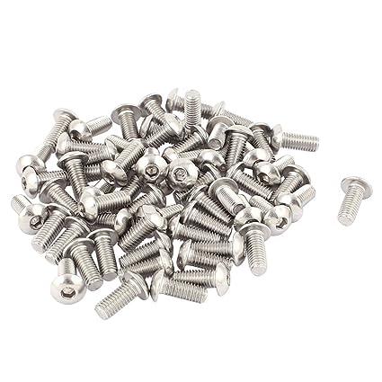 M5 Tornillos de cabeza de boton - TOOGOO(R)M5x12mm Tornillos de cabeza de boton de hueca hexagonal de acero inoxidable 50pzs