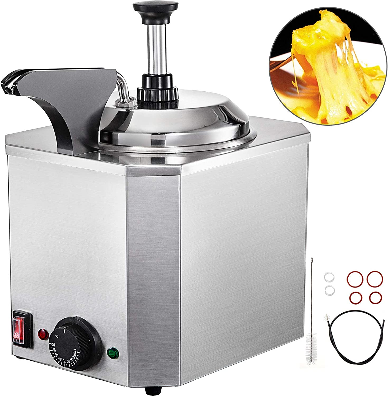 VBENLEM Nacho Cheese Dispenser with Heated Pump 2.6Qt Capacity Hot Fudge Warmer with Pump Stainless Steel Spout Heater for Hot Fudge Nacho Cheese Caramel