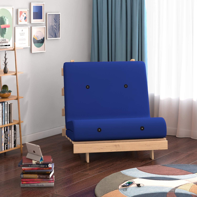 Panana - Sofá Palets Individual con Estructura Madera Cojín Asiento y Respaldo Acolchado Completo Relax Inclinable Habitación Jardín Interior Terraza Balcón Arcón (Azul)