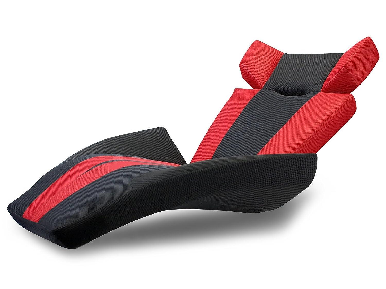 座椅子型リクライニングソファー グランデルタマンボウソファー (メッシュ生地) (レッド(V字ストライプ))