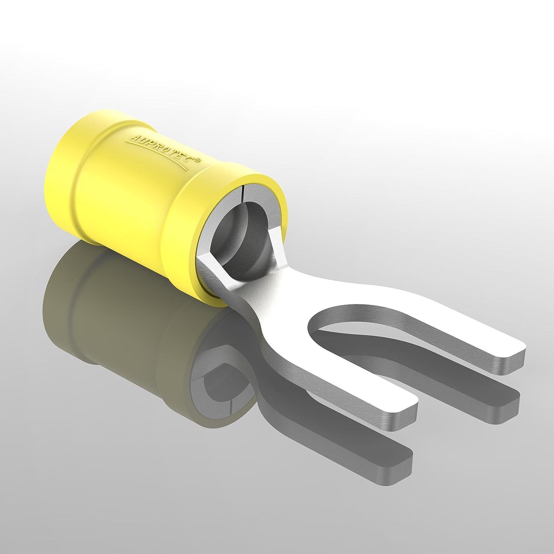AUPROTEC 50x Connettore a Forcella 4,0-6,0 mm/² giallo foro /Ø M4 SV Capicorda Preisolati PVC Connettori a Forchetta Rame Stagnato Terminali Crimp per Cavi Fili Elettrici
