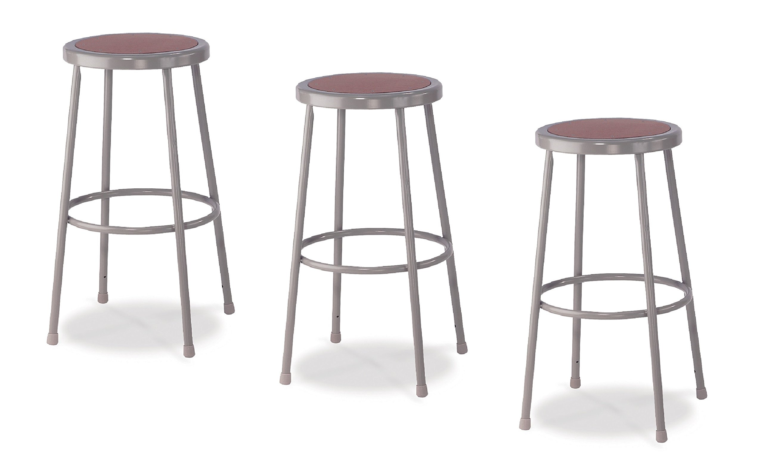 National Public Seating 6230-CN Steel Stool with 30'' Hardboard Seat, Grey (Pack of 3)