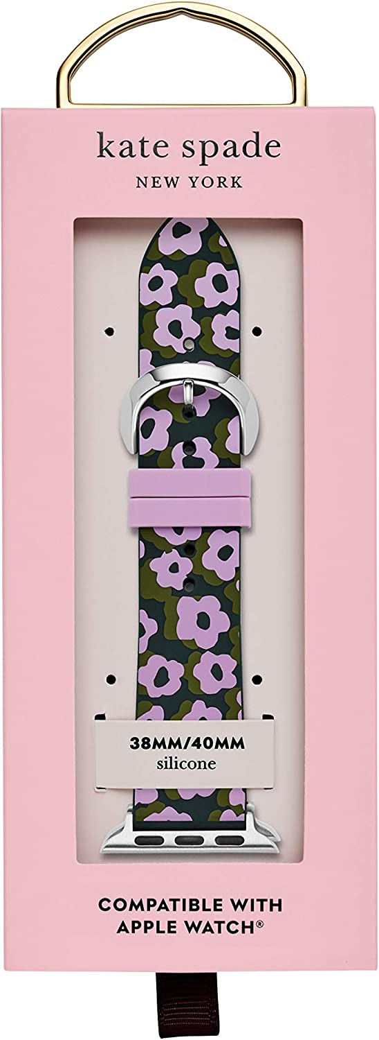 Kate Spade New York Interchangeable Silicone Band Compatible with Your 38/40MM Apple Watch- Straps for Use with Apple Watch Series 1,2,3,4 Black/Purple Floral