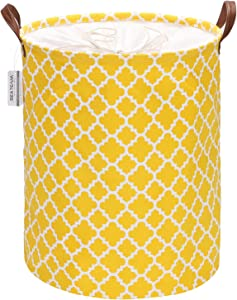 Sea Team Moroccan Lattice Pattern Laundry Hamper Canvas Fabric Laundry Basket Collapsible Storage Bin with PU Leather Handles and Drawstring Closure, 19.7 by 15.7 inches, Yellow