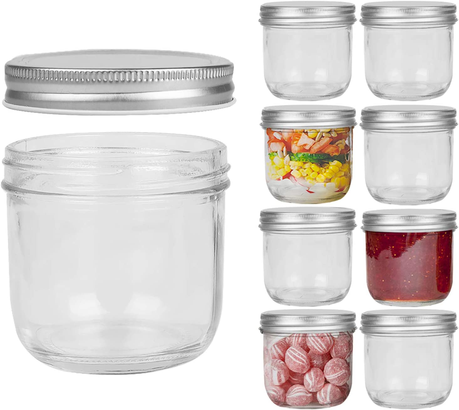 FRUITEAM 8 oz Mason Jars with Silver Metal Airtight Lids -Set of 8, Transparent Glass Canning Jar Ideal for Jams, Jellies, Conserves, Preserves, Fruit Syrups, Chutneys, and more Pizza Sauce