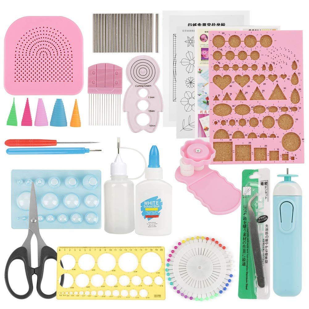 24 Pieces Quilling Paper Strips Tools Set,All Necessary Tools for Beginners, Advanced Quiller, Kids and Adults,Used in Home Office Decoration(Color Random)