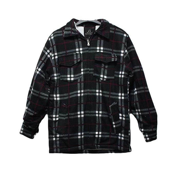 Men Causal Shirt Warm Thick Padded Long Slevees Lumberjack Check Work Top M-2XL