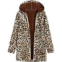 Verdickte Outwear Sweatjacke Parka Trenchcoat Malloom, Damen Winter Warm Outwear Leopard Print Mit Kapuze Taschen Vintage Über Größe Mäntel