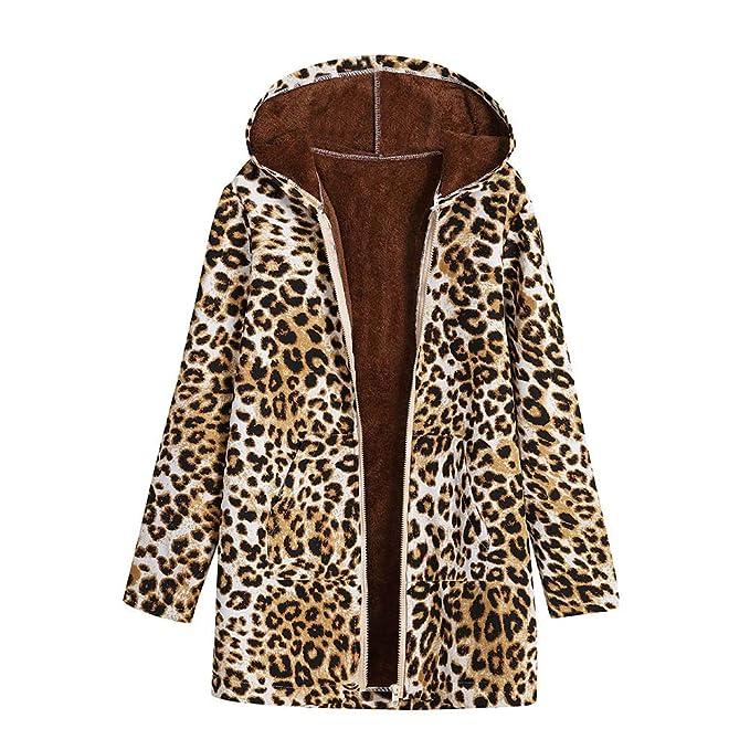 Logobeing Chaquetas Mujer Abrigos Ropa de Abrigo Tallas Grandes Suéter Jersey Mujer Bolsillos con Capucha de Impresión de Leopardo Abrigos de época ...