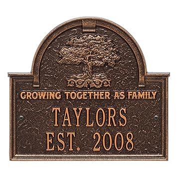 Personalized Family Tree Custom Indoor/Outdoor Anniversary Aluminum Wall  Plaque   Antique Copper