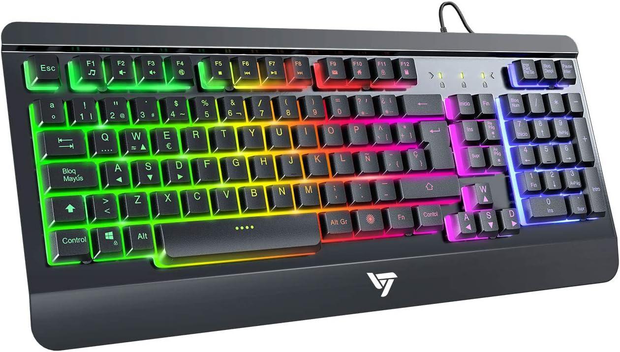 VicTsing Teclado Gaming Español USB, LED Multicolores Rainbow Retroiluminación y Panel Completamente Metálico, Teclado QWERTY Español Ideal para Juegos y Oficina