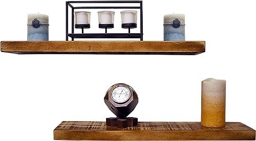 Almanor Goods Floating Wall Shelves Set of 2 , Recessed Brackets Included , Rustic Handmade Pine, Hidden Floating Shelf Bracket