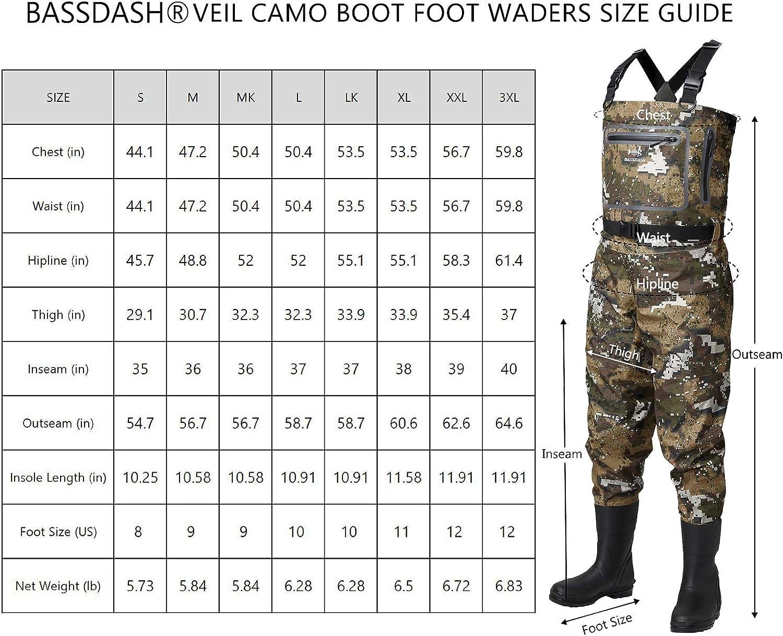 Bassdash Chest Waders Waterproof Fishing Hunting Boot Foot Wader Wading Pants