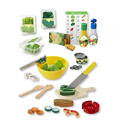 Melissa & Doug Slice and Toss Salad Play Food Set – 52 Wooden and Felt Pieces: Toys & Games