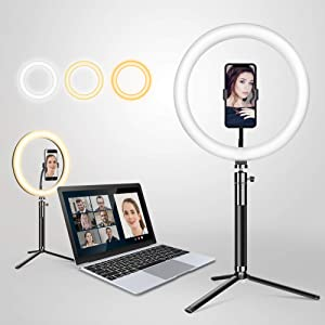 Elitehood 12 inch Ring Light, Height Adjustable Desk Ring Light for Laptop, Computer, Webcam, Video Conferencing, Recording and Makeup, ARO De Luz Compatible with All iPhones & Android Cell Phones