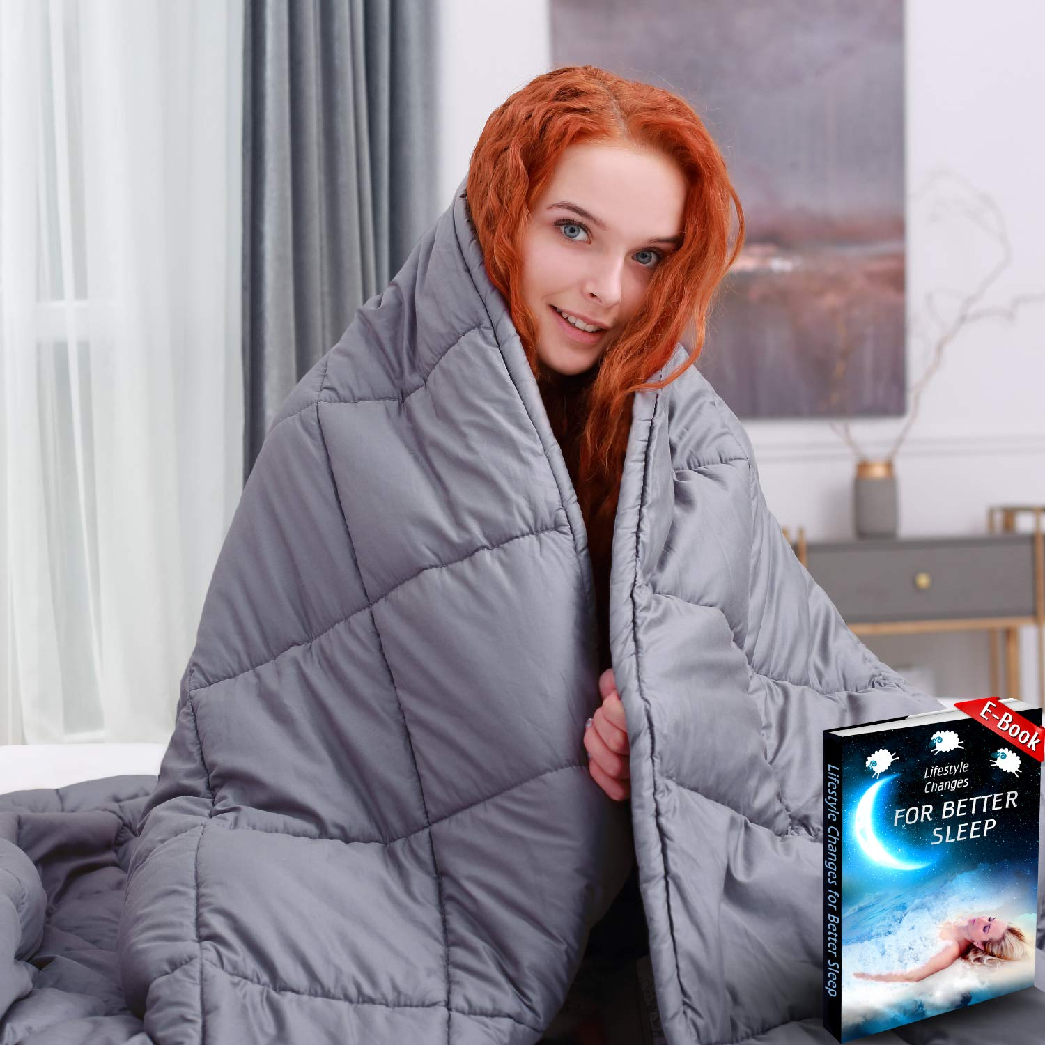 Luxurious Weighted Blanket 20 lbs 60x80 inches - Queen Size - for Individual Between 160-200+ lbs - Heavy Blanket - 100% Soft Breathable Cotton - Grey Color by Zotlex