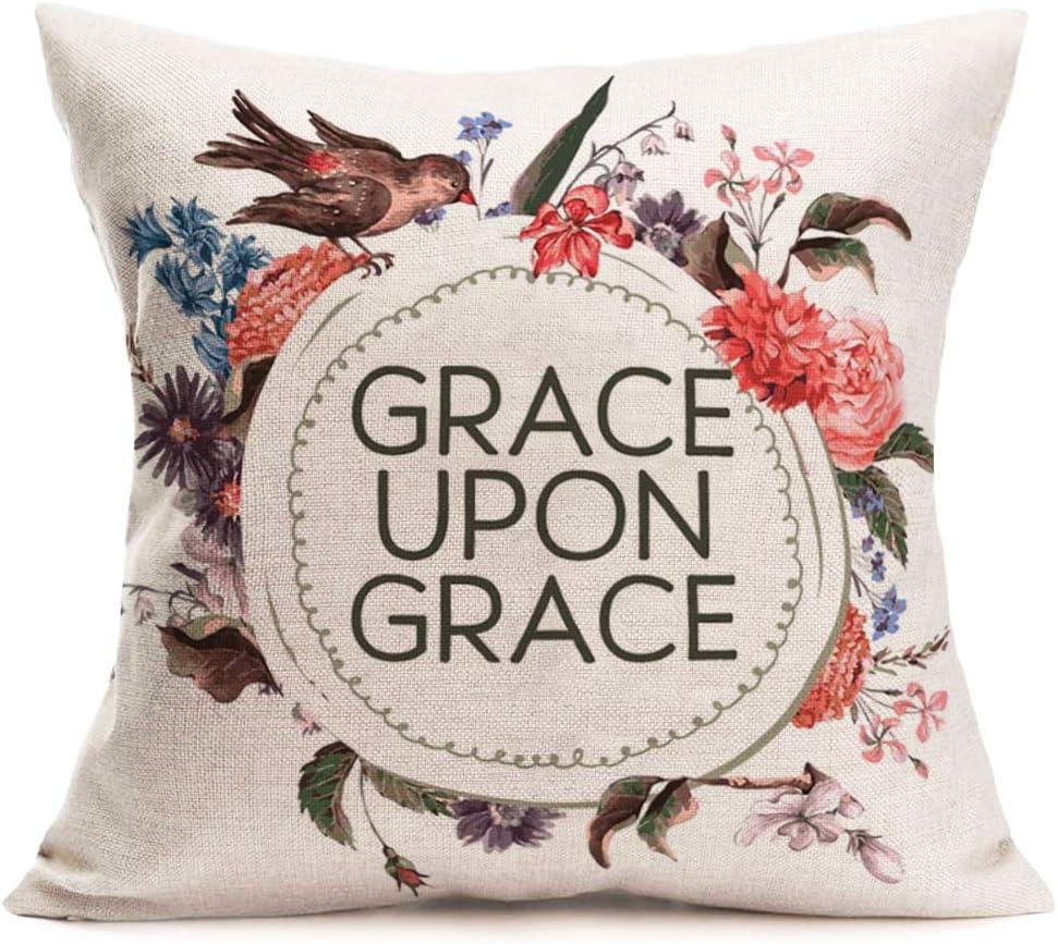 Flowers Birds Pattern Cotton Linen Office Cushion Cover Home Decor Pillow Case