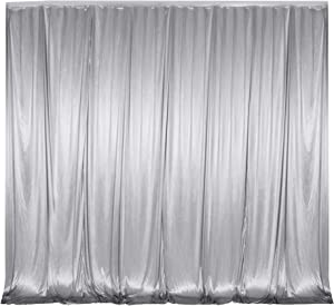 10 ft x 10 ft Photography Backdrop Drapes Curtains Wedding Backdrop, for Baby Shower Birthday Home Party Event Festival Restaurant Reception Window Decor Polyester Silver Grey
