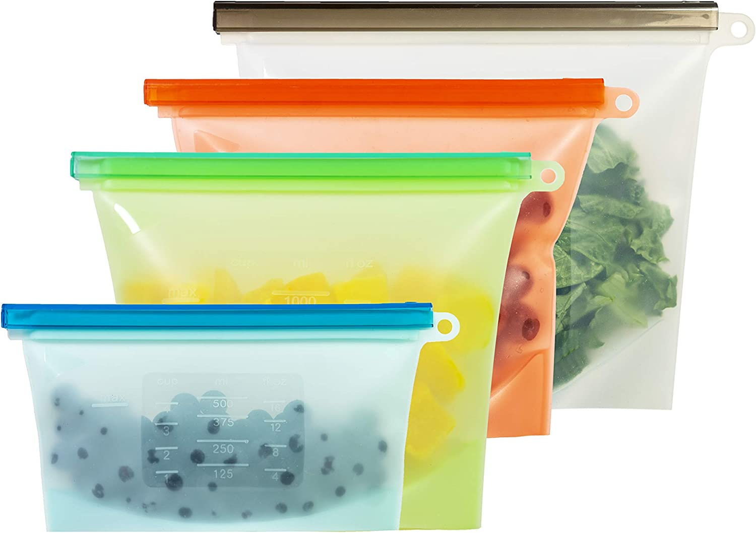 Silicone Storage Bags - Reusable Silicone Food Bag For Fruits, Snacks, Meats, Liquid | Eco Friendly, Airtight Seal, Dishwasher Safe Silicone Food Storage Bag for Cooking and Preservation (Pack of 4)