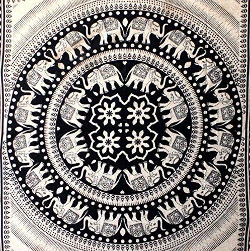 Elephant Twin Mandala Tapestry Hippie Tapestry Mandala Tapestry Wall Hanging Wall Decor Home Decor (Tan7)