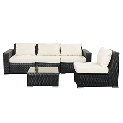 Amazon Com Wonlink Patio White Wicker Rattan Furniture Sectional