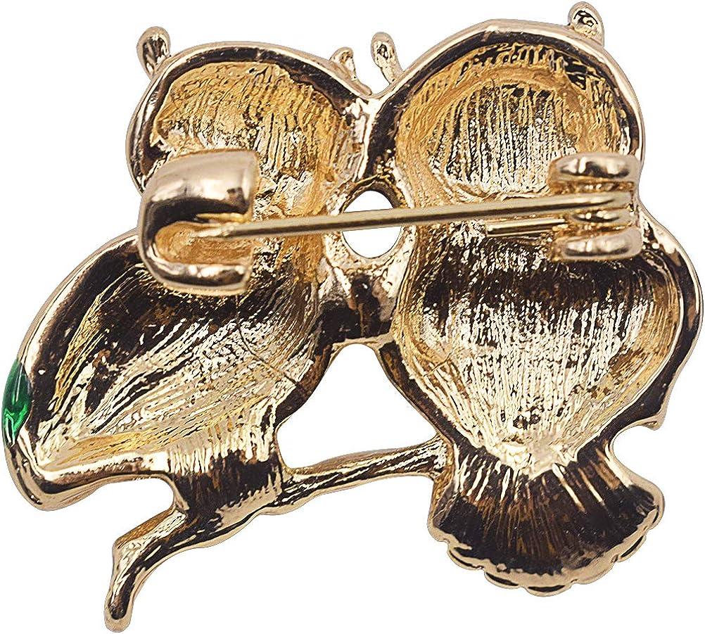 Spilla a Forma di Gufo ZSWQ-Spilla Nobile Elegante,Golden Brown Uccello di Smalto su Ramo Gufo Sapiente Spilla Pin Stile Vintage Moderno ed Elegante per Matrimoni e Feste