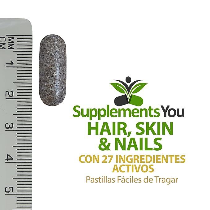CABELLO, PIEL Y UÑAS + 5,000mcg de BIOTINA. 60 Suplementos Premium 27 ingredientes Activos con BIOTINA mezclado para dar CABELLO MAS GRUESO, ...