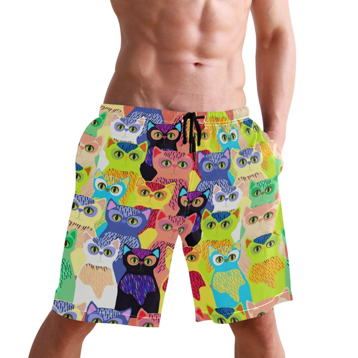 Mens Swim Trunks Cute Colorful Cartoon Cats Beach Board Shorts with Lining