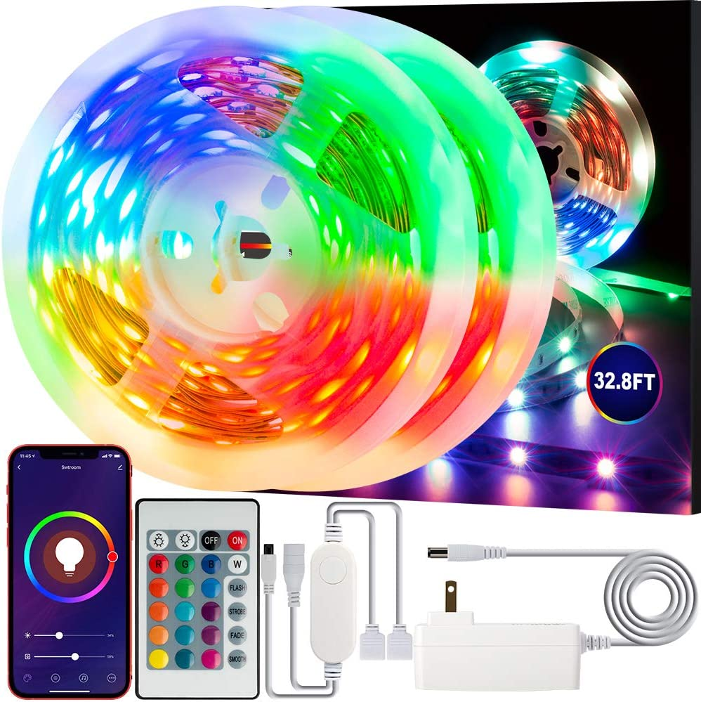 Swtroom LED Stripe Lights Works with Alexa Google Home WiFi RGB LED Light Strips 16 Million Colors Music Sync 5050 LED Light with Remote App Control for Bedroom/Bar/Party/Home Decoration (32.8ft)