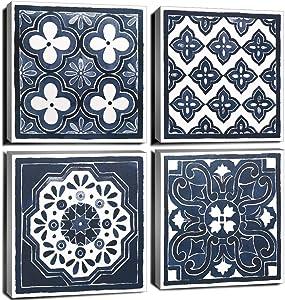 Blue Mandala Canvas Wall Art for Bedroom Boho Vintage Navy Flowers Pattern Living Room Decor 12x12