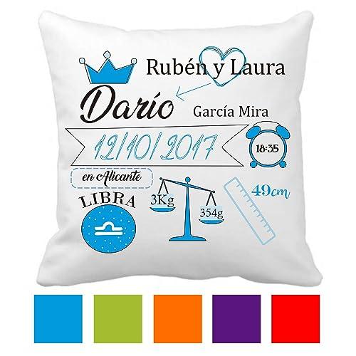 Regalo Original Recién Nacido - Cojín Natalicio - Datos Nacimiento Bebe - Disponible en 5 colores - Personalizado - Incluye: Funda + Relleno - Niño - ...
