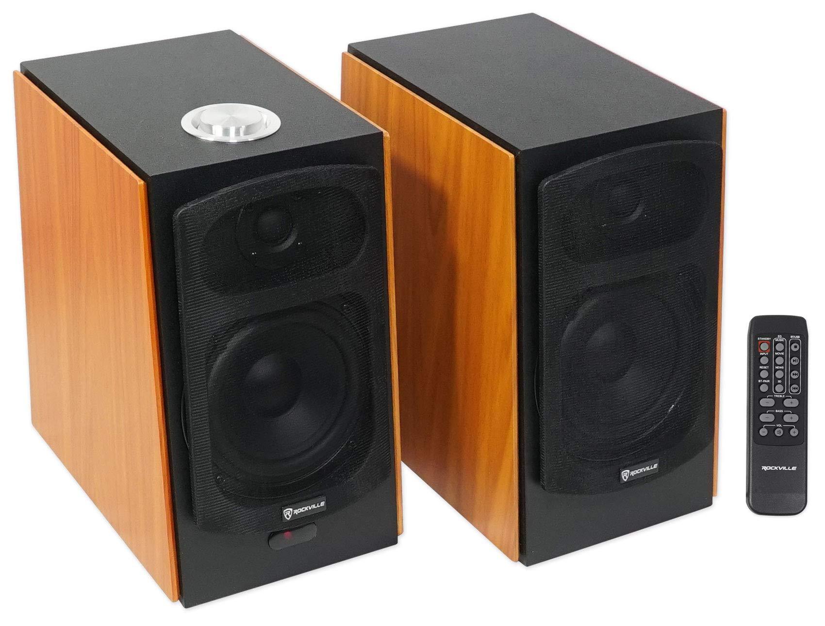 (2) Rockville HD5 5'' Powered Studio Monitor Bluetooth Bookshelf Speakers